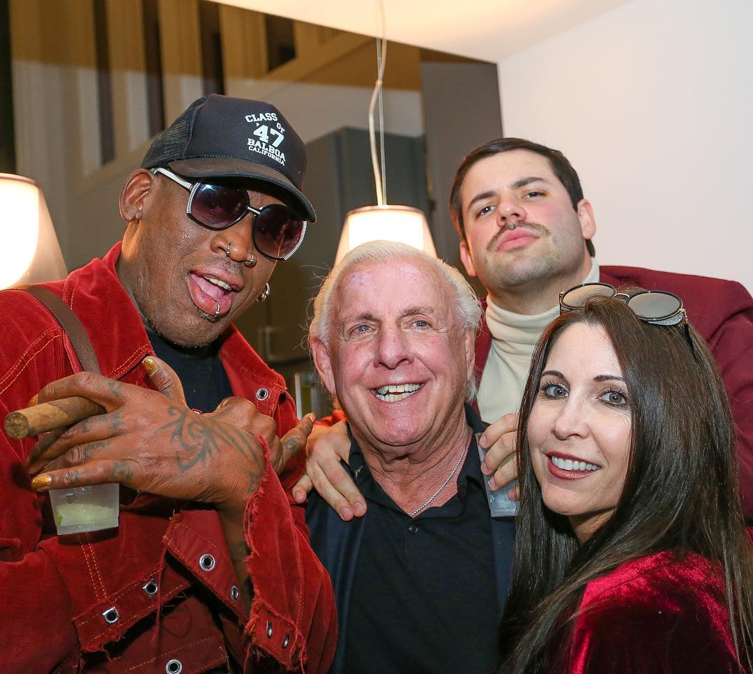 Ric Flair partying with Dennis Rodman - December 2016