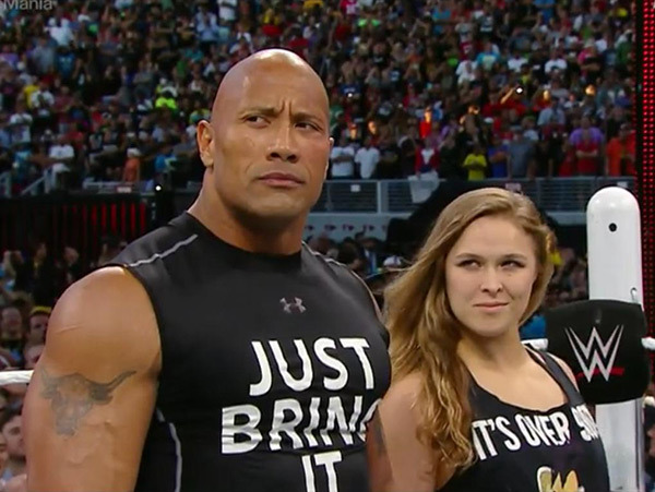 Ronda Rousey with The Rock at WrestleMania 31