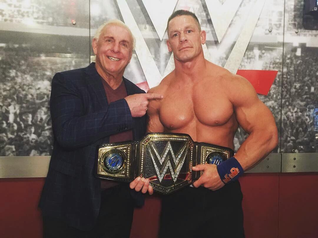 Ric Flair with John Cena after Cena's 16th WWE World Title victory at Royal Rumble 2017