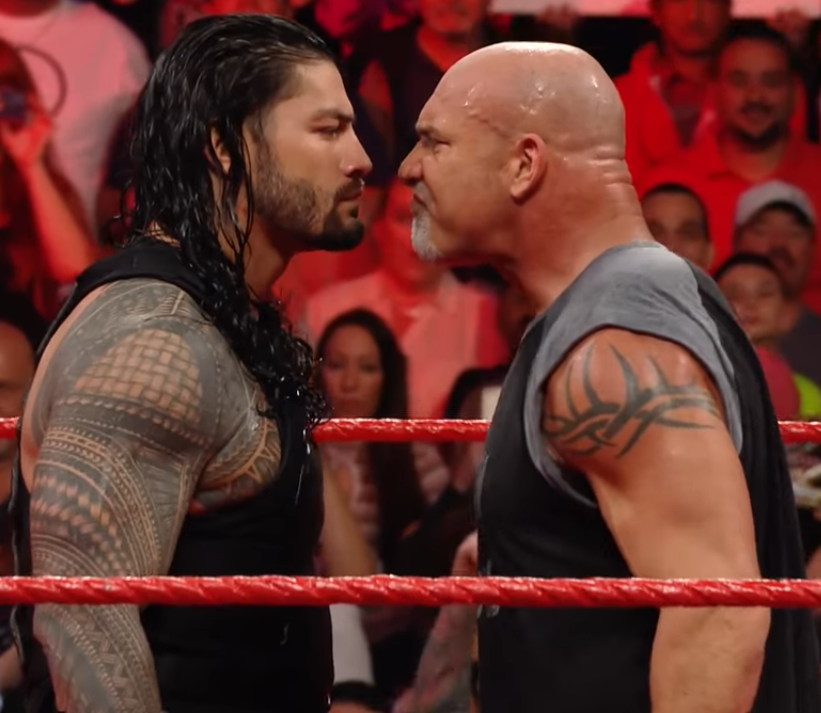Roman Reigns vs. Goldberg - Roman Reigns & Goldberg face-to-face on Raw