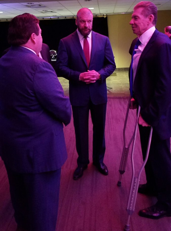 Vince McMahon on Crutches at WrestleMania 34 Press Conference in New Orleans