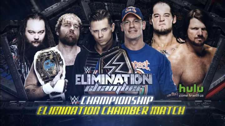 Elimination Chamber 2017 match for the WWE Championship - John Cena vs. AJ Styles vs. Dean Ambrose vs. Bray Wyatt vs. The Miz vs. Baron Corbin